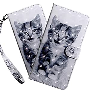HMTECHUS Galaxy S9+ 手机壳优雅压花卡片现金插槽书式钱包 PU 皮革耐用磁扣翻盖支架防震保护套适用于三星 Galaxy S9 Plus BX] 3D-Little Smile Cat
