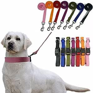 尼龙狗绳和项圈,美国卖家,7 种颜色,4 种尺寸耐用! Puppy Lead 粉红色 X大码