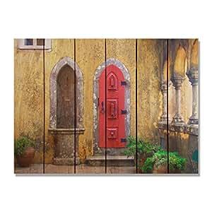 Gizaun Art Red Door Inside/Outside Wall Art, Full Color on Cedar 红色 33-Inch by 24-Inch