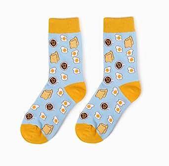 女式多色图案礼服袜创意趣味休闲棉质船袜 4 双装 Bread-1pack US 6-11