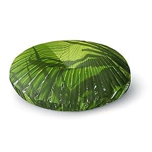 "KESS InHouse Rosie 棕色""棕榈阴影""绿色石灰圆形地板枕,58.42 cm x 58.42 cm 多种颜色 26"" x 26"" RB1067ARF02"