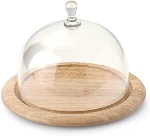 continenta 圆形橡胶 Tree 木奶酪桌面 with GLASS 奶酪覆盖提供不同直径 [ 2件套 ]