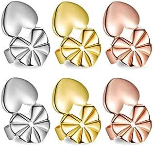 Love Shaped 优质耳环升降器 | 礼品盒 | 耳托 | 3 对耳朵耳垂背部提拉 | 纯银,18K 镀金和玫瑰金用于增强耳垂