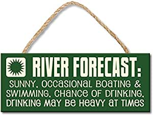 My Word Rope Hanging Sign, 4 by 10-Inch, River Forecast