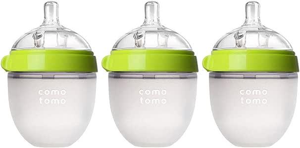 Comotomo Natural Feel 婴儿奶瓶 3 件装 绿色 5 盎司