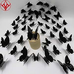 48 件多色 3D DIY 蝴蝶可移除装饰壁画贴纸,PVC 墙贴艺术/墙壁/家庭/儿童房卧室/客厅/教室/办公室/幼儿装饰 黑色
