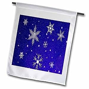 SANDY mertens 冬季设计–雪花,蓝色背景–旗子 12 x 18 inch Garden Flag