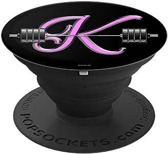 K 粉色交织字母杠铃锻炼激励 K 名字 PopSockets 手机和平板电脑握架260027  黑色