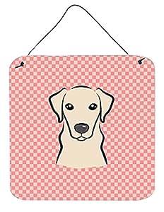 """Caroline's Treasures Checkerboard Pink Yellow Labrador Wall or Door Hanging Prints, 6 x 6"""""""