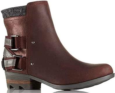SOREL 女士 Lolla 防水皮靴,红木/黑色