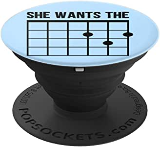 She Wants The D Guitar Tab 趣味吉他手礼物 PopSockets 手机和平板电脑握架260027  黑色