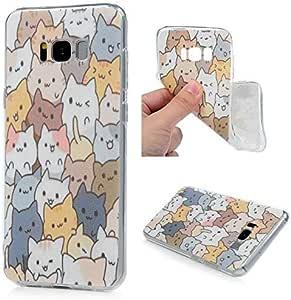 MOLLYCOOCLE S8 Plus 手机壳,轻便可爱绘画超薄全身保护柔软弹性 TPU 材料透明保护壳适用于三星 Galaxy S8 PlusSamsung Galaxy S8 Plus 猫咪