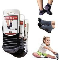 YogaAddict 防滑防滑带手柄袜,适用于*康复、瑜伽、普拉提、芭蕾、1 和 2 双装