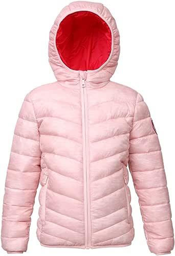 Rokka&Rolla 女童轻质双面防水连帽绗缝涤纶填充棉夹克