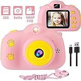 儿童相机,1080P 8MP 自拍数字女孩儿童相机带 32GB SD 卡儿童视频相机生日/圣诞节/新年玩具礼物 3 4 5 6 7 8 9 10 岁女孩(粉色)