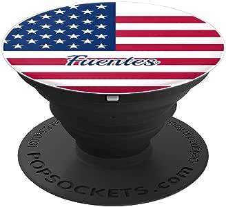 Fuentes 美国国旗Merica 个性化姓氏 - PopSockets 手机和平板电脑握架260027  黑色