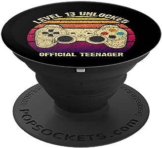 官方青少年 13 岁生日 13 级未锁复古 PopSockets 握把和支架,适用于手机和平板电脑260027  黑色