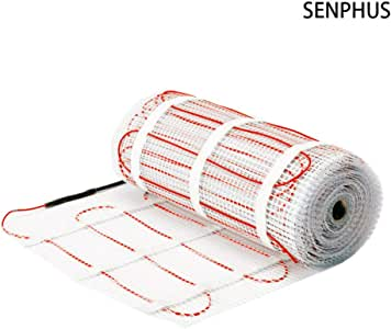 SENPHUS 120V 地板*加热垫双核电力电缆系统暖砖 20-100 平方英尺 Heating Mat 90sqft 8970256