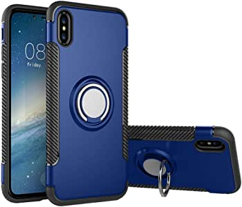 iPhone Xs Max 手机壳,汽车磁性支架带环扣 360 度保护盖 iPhone Xs Max 蓝色