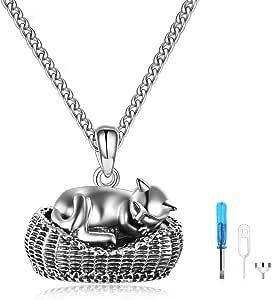 ONEFINITY 猫骨灰项链纯银动物纪念品宠物纪念品吊坠首饰送给女士男士