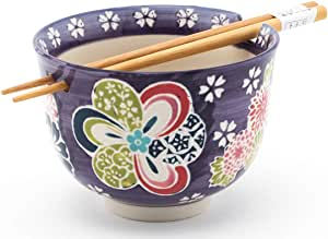 Happy Sales Ramen Udong Noodle 汤谷物碗 w/筷子(中国) 紫色花卉 HSRB-PURFLR
