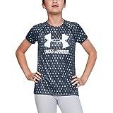 Under Armour 女童大徽标 T 恤新颖短袖衬衫 Downpour Gray (044)/White 青少年 XS