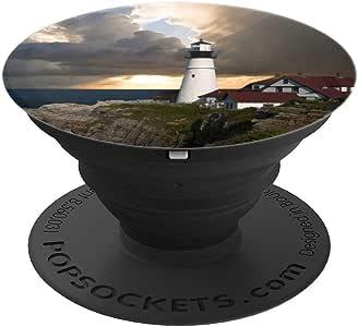 Lighthouse Beacon Direction 太阳光云朵天空 PopSockets 手机和平板电脑握架260027  黑色