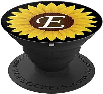 手机弹出式支架,可爱的向日葵字母大写字母 E PopSockets 手机和平板电脑握架260027  黑色