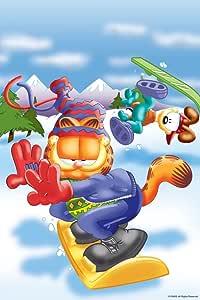 "Marmont Hill Garfield 'Snowboarding' canvas Wall Art, 12"" X 18"""