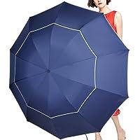 SEEU 60 英寸高尔夫雨伞小巧轻质,10 条伞骨防雨/防风双伞透气高尔夫大号旅行伞带小折叠长度 11.8 英寸