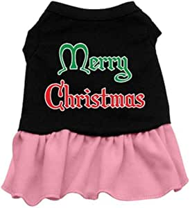 Mirage Pet Products 10 英寸圣诞快乐丝网印花连衣裙 黑色粉红色 小号
