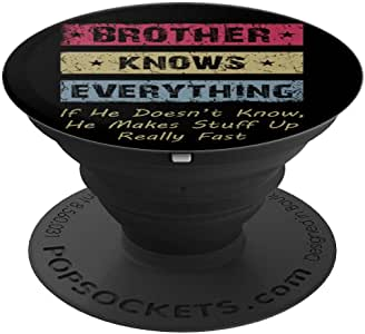 Vintage Brother Knows Everything Father's Day Gifts Brothers PopSockets 手机和平板电脑握架260027  黑色