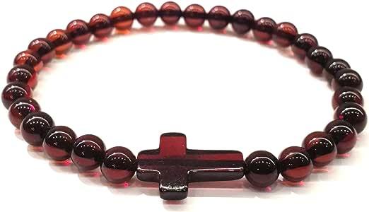 琥珀文化 琥珀小号弹力手链 十字架 - 天然波罗的海深樱桃色 5+ 毫米珠子 - 豪华礼品盒 适合男士、女士(男女皆宜) B26
