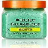 Tree Hut 乳木果糖磨砂膏 椰子青柠,超保湿和去角质磨砂膏,可滋养基础身体护理(3件),18盎司/510克