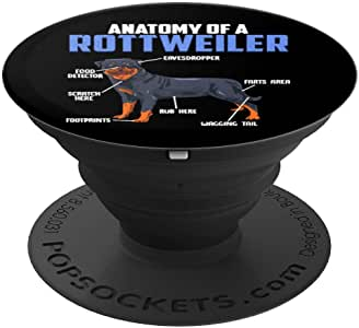 Anatomy Of a Rottie! Rottweiler Gift PopSockets 手机和平板电脑握把支架260027  黑色