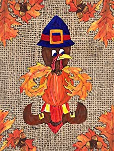 Caroline's Treasures 8743CHF Thanksgiving Turkey Pilgrim Fleur de lis Flag Canvas, Large, Multicolor