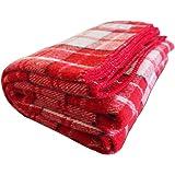 """Woolly Mammoth Woolen Company 农舍系列羊毛毯。 乡村家居装饰的完美搭配。 用作超大抛物,床上额外层。 Red/Black/Cream Plaid 66"""" x 90"""" 43256-2467"""