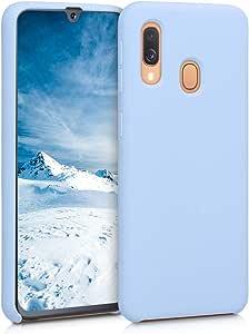 kwmobile TPU 硅胶手机壳三星 Galaxy A40 - 柔软弹性橡胶保护壳 - 浅蓝色哑光