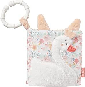 Fehn 062120 软壳图画书 天鹅湖 织物材质带花朵和动物图案 8 页带小册子/速写纸和镜子 适合 0 个月以上宝宝和幼儿 尺寸  11 × 11 厘米