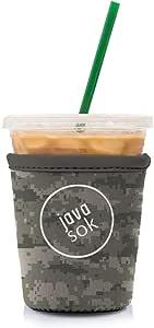 JAVA SOK 可重复使用咖啡套 - 冰饮料和杯套 隔热氯丁橡胶套| 适合所有大小的星巴克咖啡、麦克唐纳德、邓肯甜甜圈(更多颜色和尺寸) DigiCamo Small 16-18oz