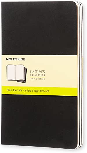Moleskine Cahiers 黑色纯白轻便笔记本(大型)