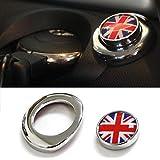 (1)经典红色/蓝色英国英国国旗设计引擎启动按压启动盖与*二代 MINI Cooper 兼容