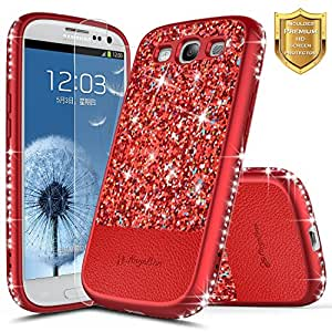 Galaxy S3 手机壳【高清透明屏幕保护膜】NageBee 闪光速沙液体浮动闪耀时尚奢华女孩可爱手机壳三星 Galaxy S3 S III I9300 GS3NGBS32IN1PLUM 梅红色