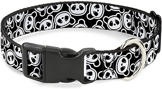 "带扣塑料夹领 Scattered Panda Bear Cartoon2 Black/White 1/2"" Wide - Fits 8-12"" Neck - Medium"
