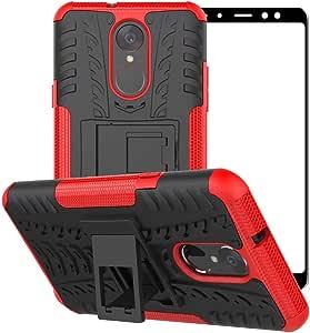 LG Stylo 4 手机壳,LG Stylo 4 Plus,LG Q Stylus 手机壳,【全覆盖钢化玻璃】混合双层支架防震保护壳适用于 LG Stylo 4 红色