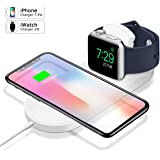 2 合 1 无线充电器适用于 Apple Watch ,便携式快速无线充电底座,兼容 iPhone X/XS MAX/XR/8/8 Plus,三星 S9 S8 S7 Edge S6 Edge + Note 9 Note 8,iWatch(白色
