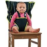 Cozy Cover 易坐便携式高脚椅 – 快速、方便的布旅行高脚椅可放入您的手提包,让您可以随处携带,安心,婴儿/学步儿童* 黑色/绿色