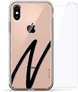 豪华设计师,3D 印花,时尚气袋垫,360 度玻璃保护套装手机壳 iPhoneLUX-IXAIR360-INITIALN1 BLACK INITIAL N1 透明