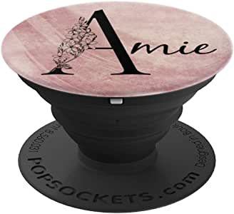 Amie 个性化名字花卉玫瑰粉摇滚设计 - PopSockets 手机和平板电脑抓握支架260027  黑色