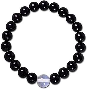 LK-CRAFTS 天然宝石弹性弹性手链,带礼品盒 Black Onyx-White Opal 7 IN. - 8mm Bracelet7_Black-WhiteOpal